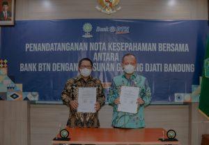 UIN Sunan Gunung Djati Bandung melakukan penandatangananMemorandum of Understanding(MoU) dengan Bank Tabungan Negara (BTN) yang berlangsung di gedung O. Djauharuddin AR, Kamis (14/10/2021).